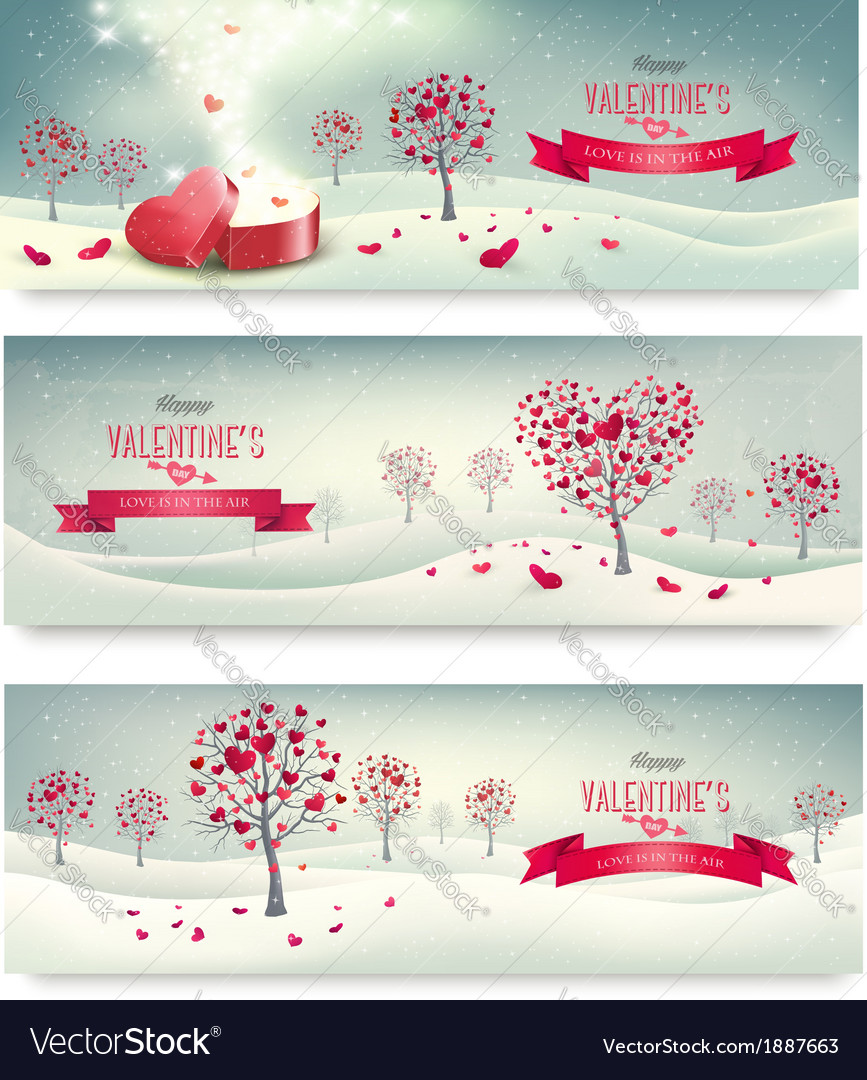 Holiday retro banners valentine trees with vector | Price: 1 Credit (USD $1)