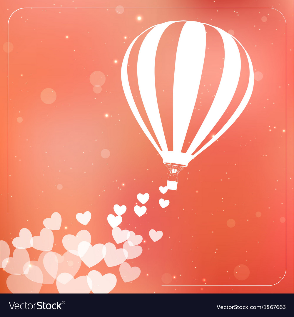 Hot air balloon with flying hearts romantic vector | Price: 1 Credit (USD $1)