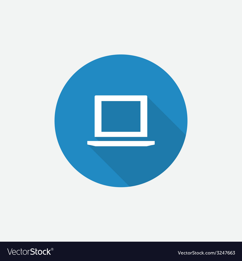 Laptop flat blue simple icon with long shadow vector | Price: 1 Credit (USD $1)