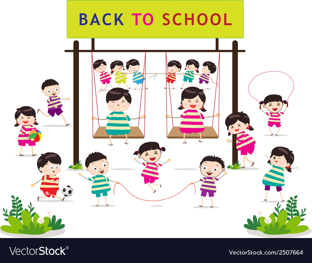 Back to school funny playing vector | Price: 1 Credit (USD $1)