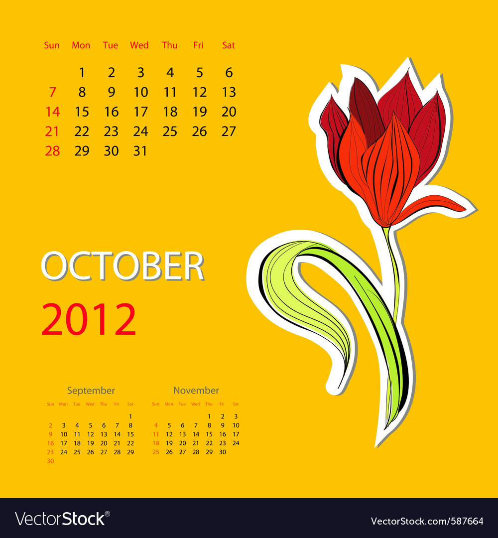 Calendar for 2012 october vector | Price: 1 Credit (USD $1)