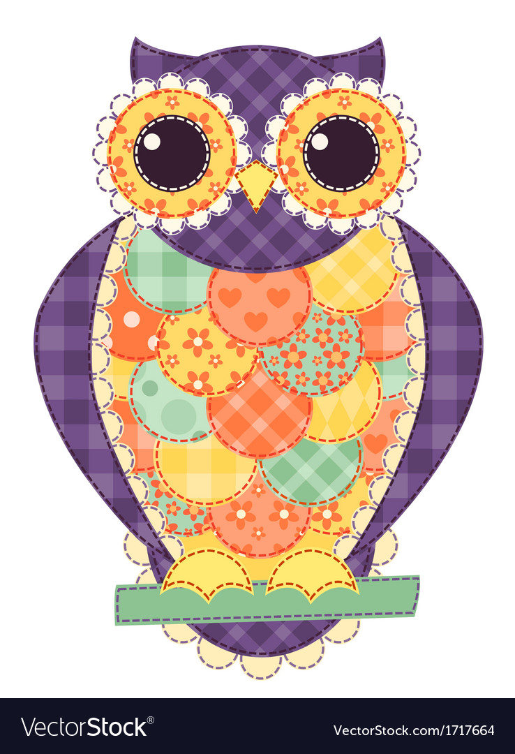 Colored isolated patchwork owl vector | Price: 1 Credit (USD $1)