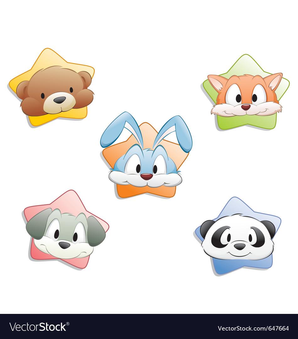 Cute cartoon animal faces vector | Price: 3 Credit (USD $3)