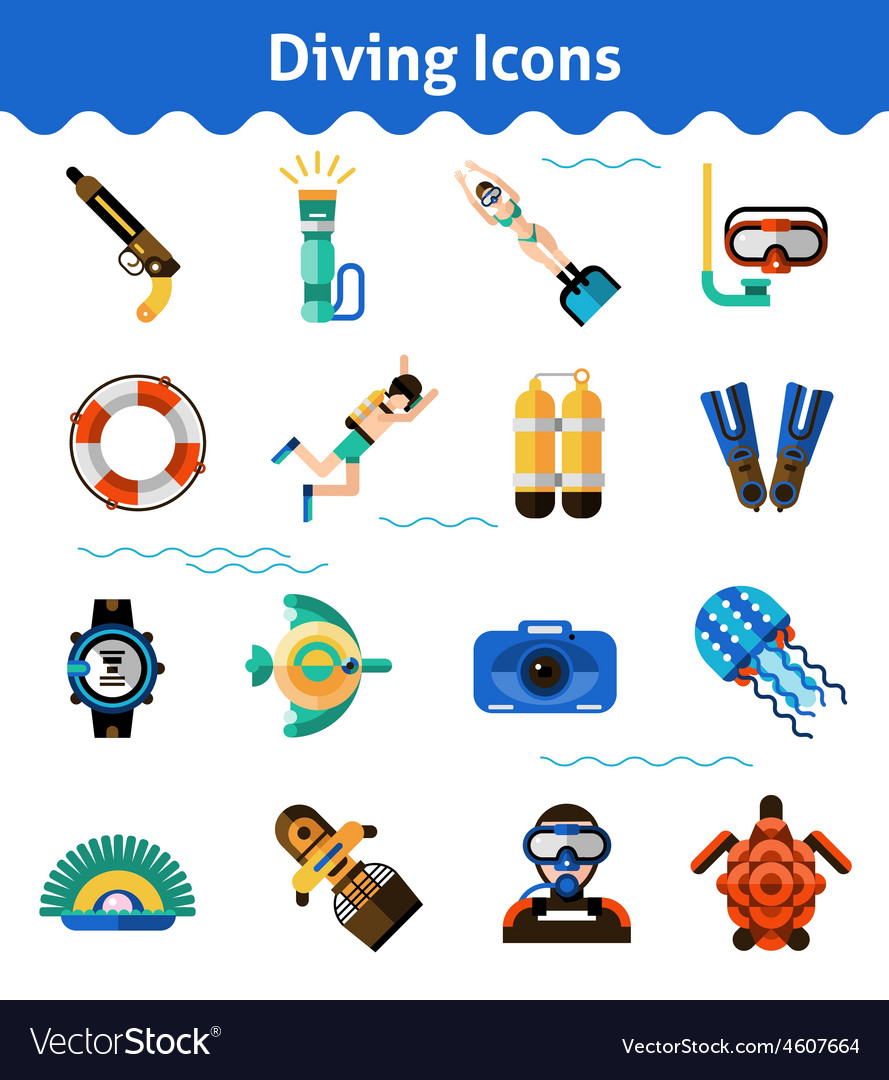 Diving icons set vector   Price: 1 Credit (USD $1)