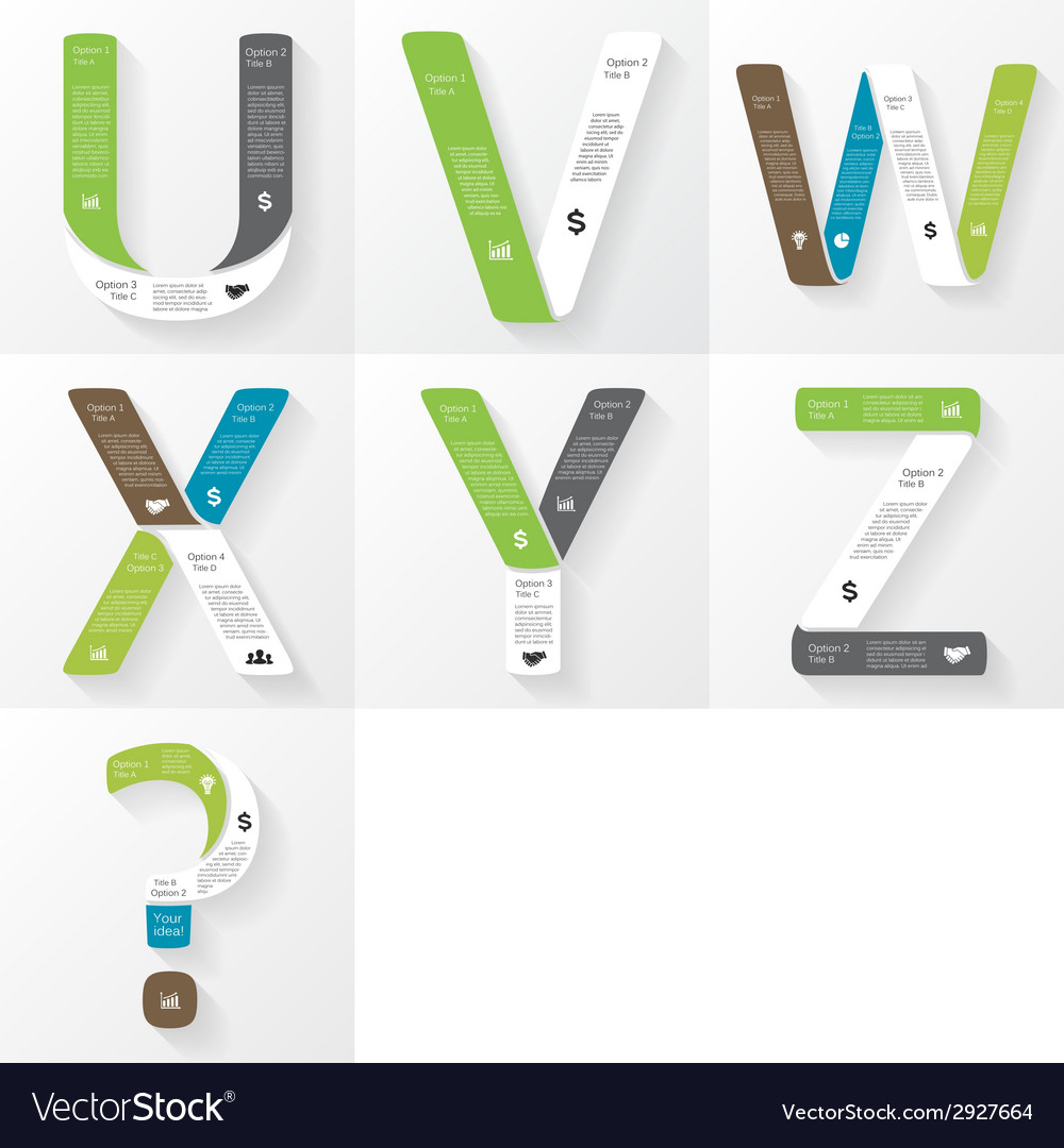 Font infographic diagram presentation letters u v vector | Price: 1 Credit (USD $1)