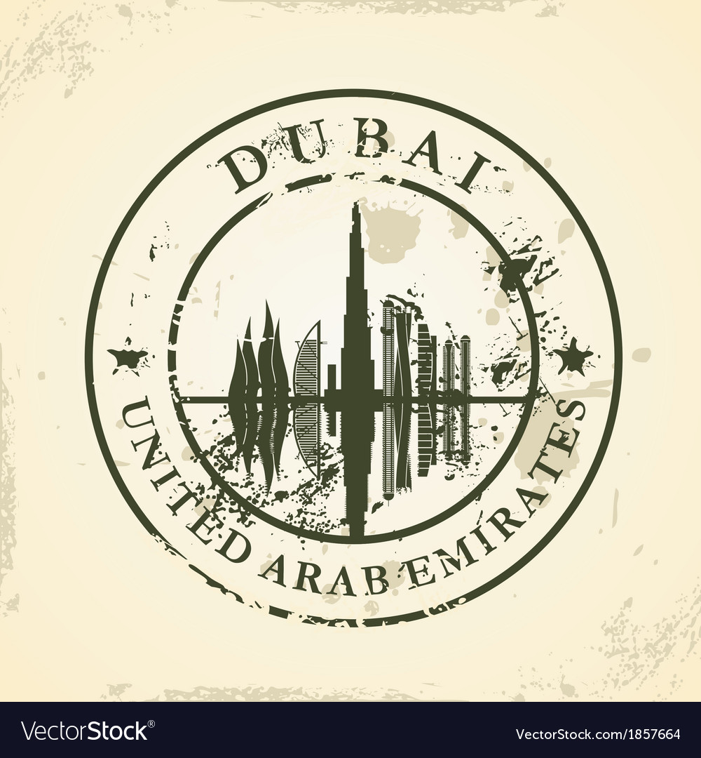 Grunge rubber stamp with dubai uae vector | Price: 1 Credit (USD $1)
