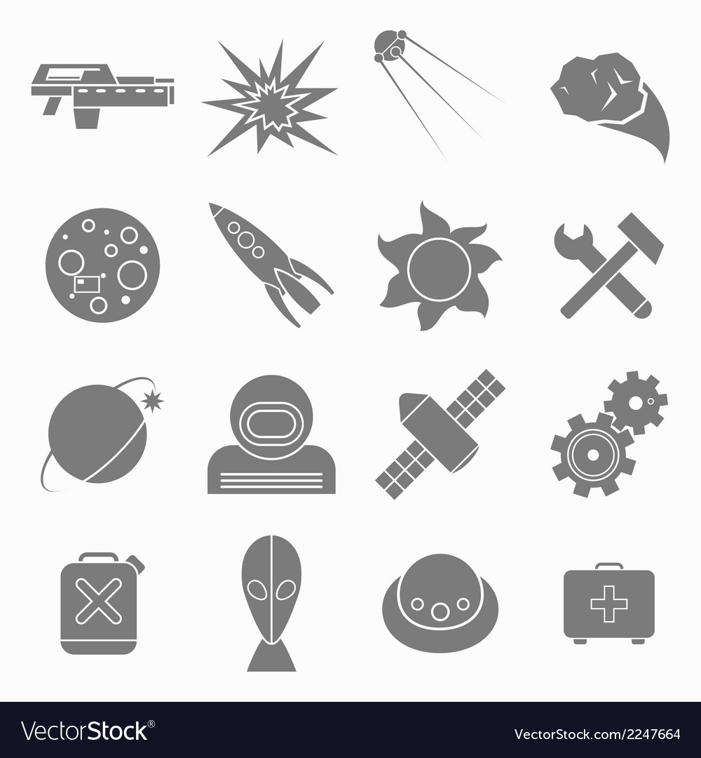 Icons space in flat style gray on white vector | Price: 1 Credit (USD $1)