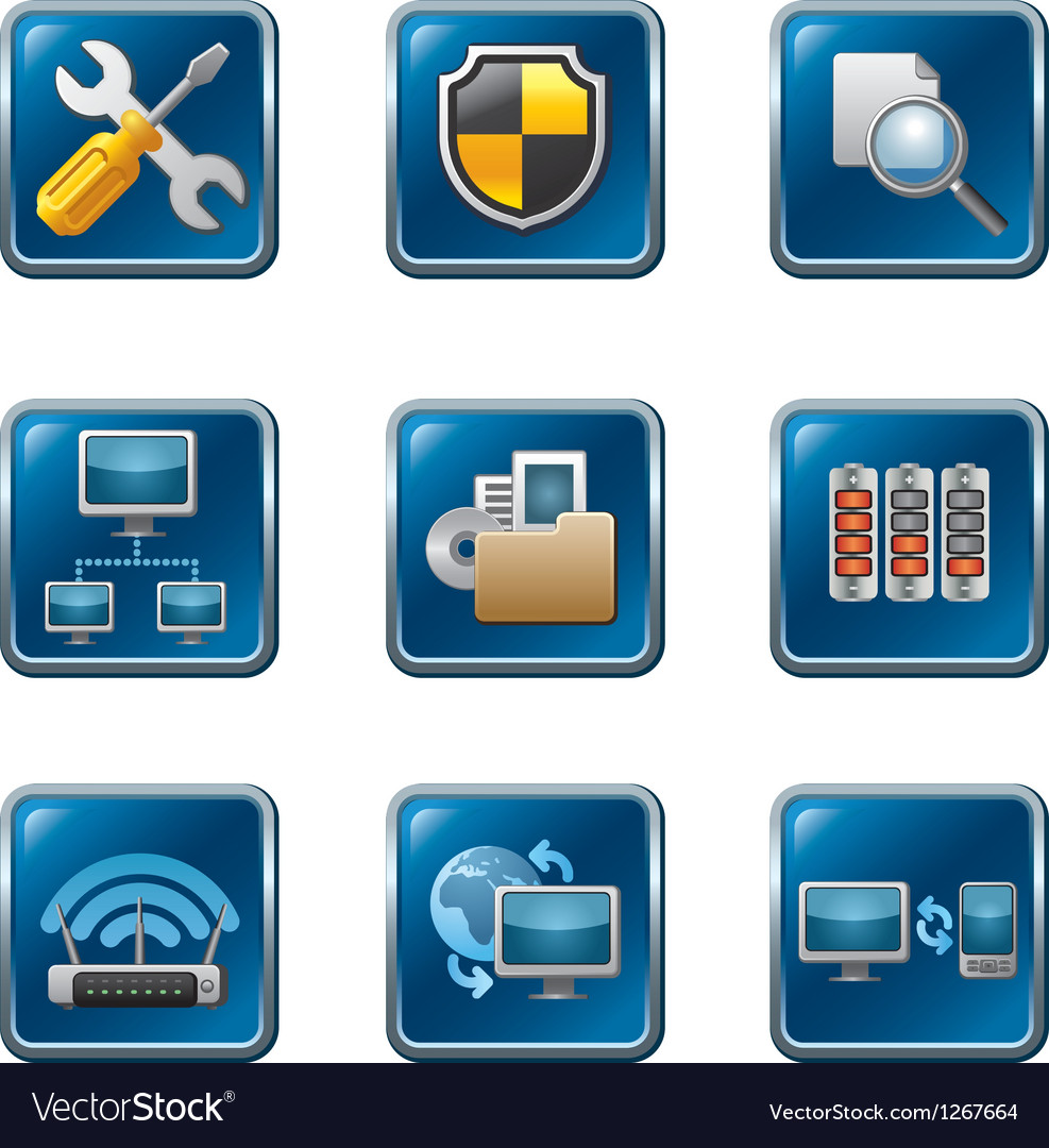 Network button set vector | Price: 3 Credit (USD $3)