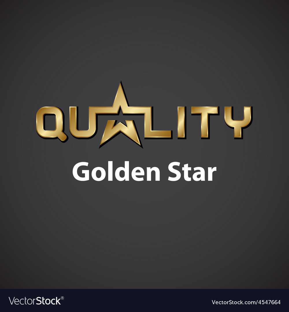 Quality golden star inscription icon vector | Price: 1 Credit (USD $1)