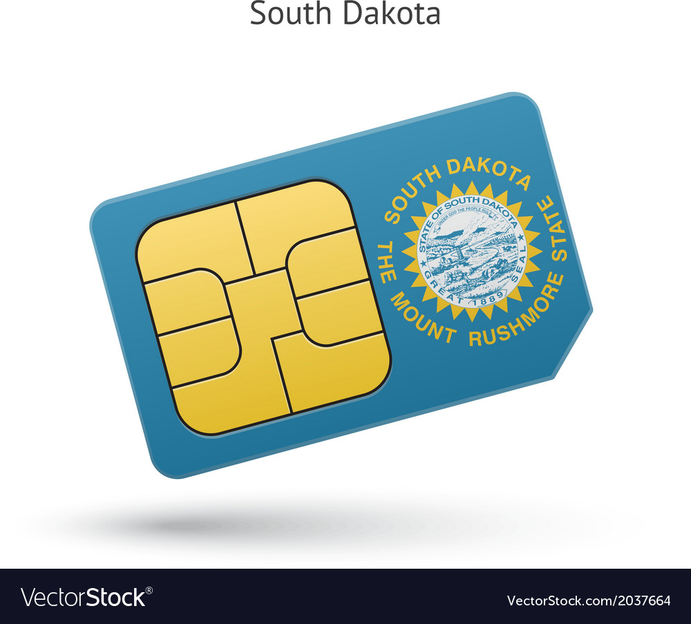 State of south dakota phone sim card with flag vector | Price: 1 Credit (USD $1)