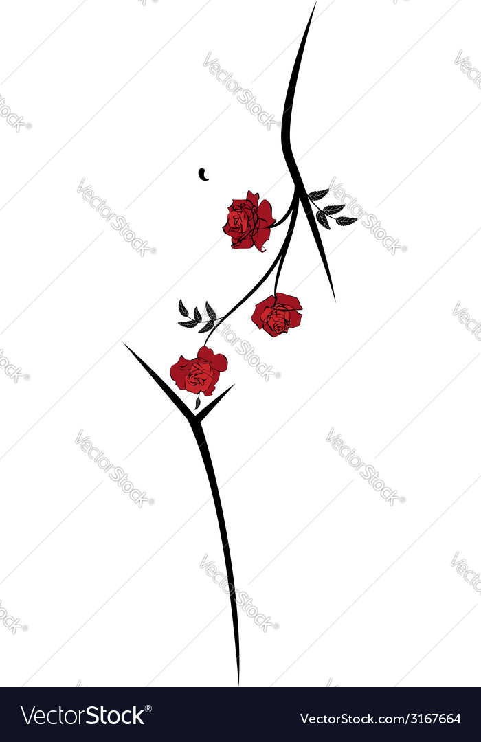 Woman body and roses vector | Price: 1 Credit (USD $1)