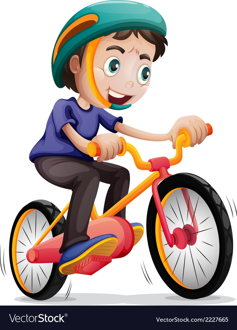 A young boy riding a bicycle vector | Price: 1 Credit (USD $1)
