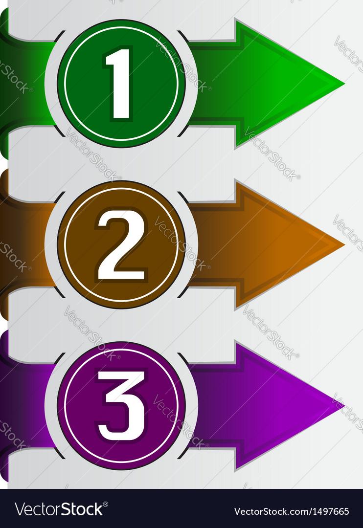 Abstract web arrow in three color vector | Price: 1 Credit (USD $1)