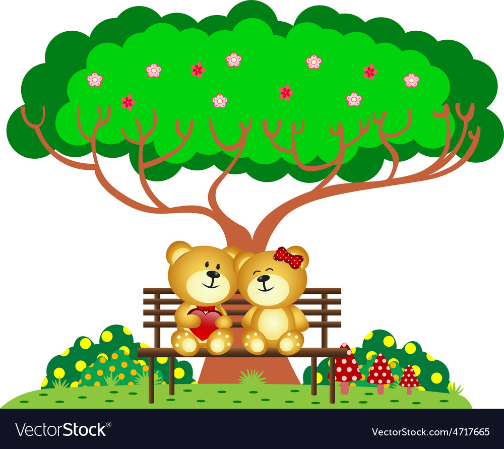 Bear couple in love sitting on a bench under a tre vector | Price: 1 Credit (USD $1)