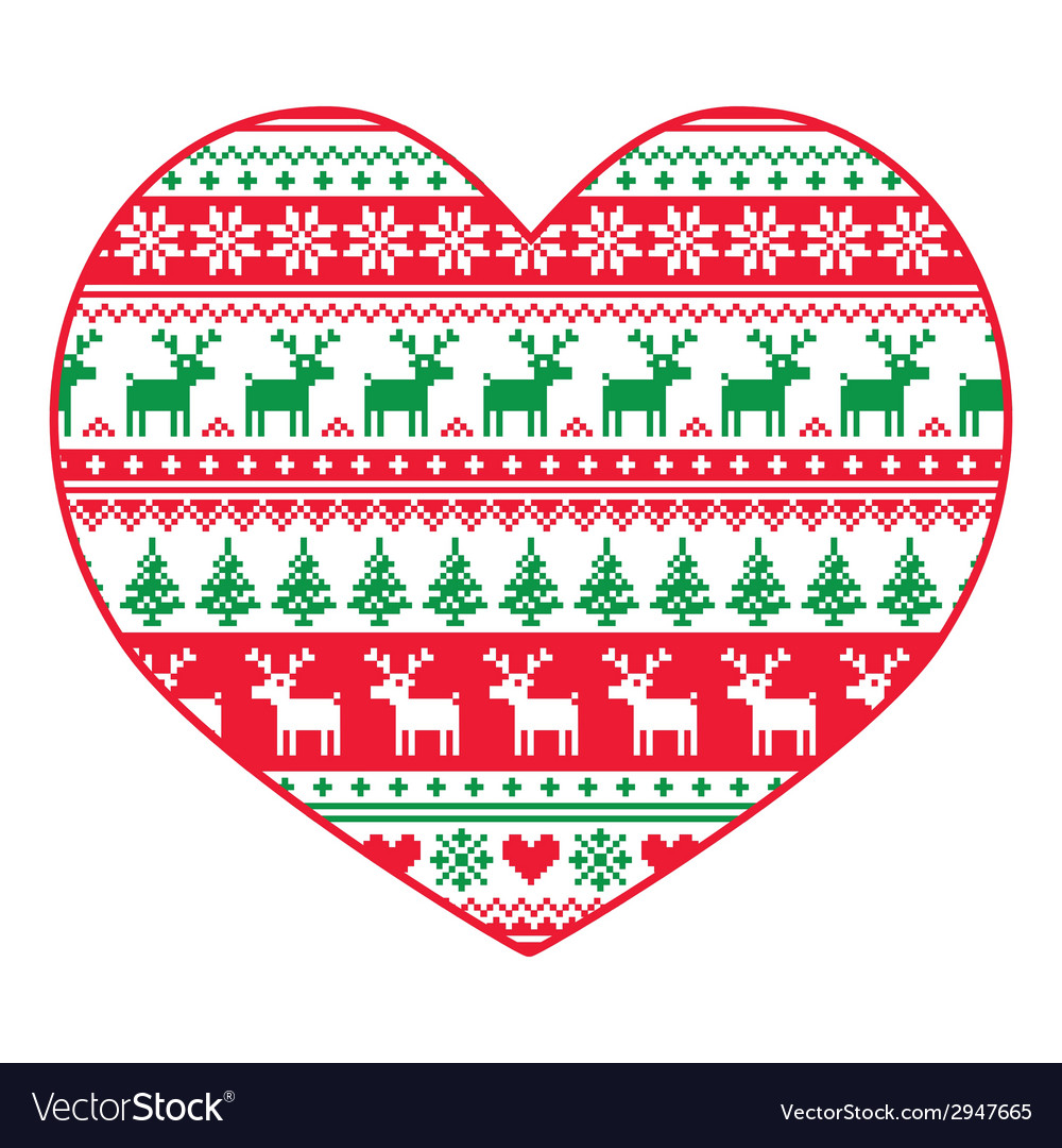 Christmas card - red and green nordic pattern vector | Price: 1 Credit (USD $1)