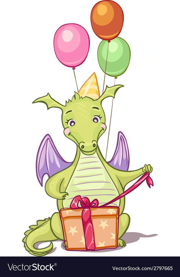 Dragon with birthday gifts and balloons vector | Price: 1 Credit (USD $1)