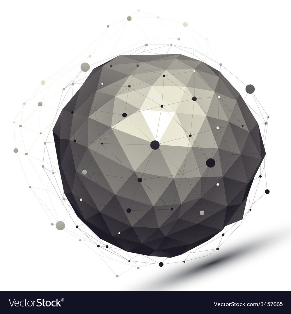 Geometric contrast spherical figure with wire mesh vector | Price: 1 Credit (USD $1)