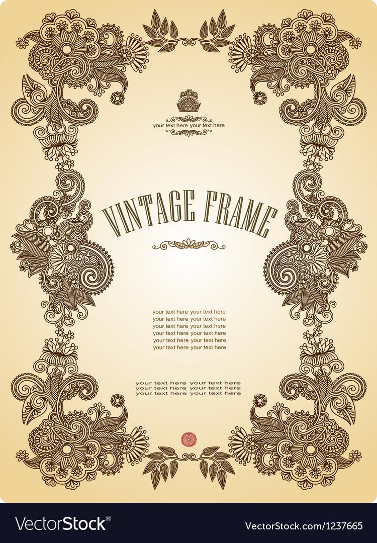 Hand draw ornate floral vintage frame vector | Price: 1 Credit (USD $1)