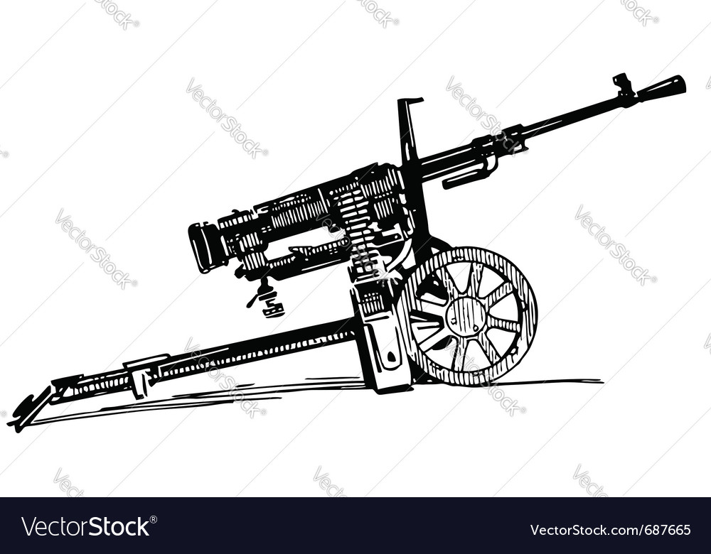 Machine gun vector | Price: 1 Credit (USD $1)