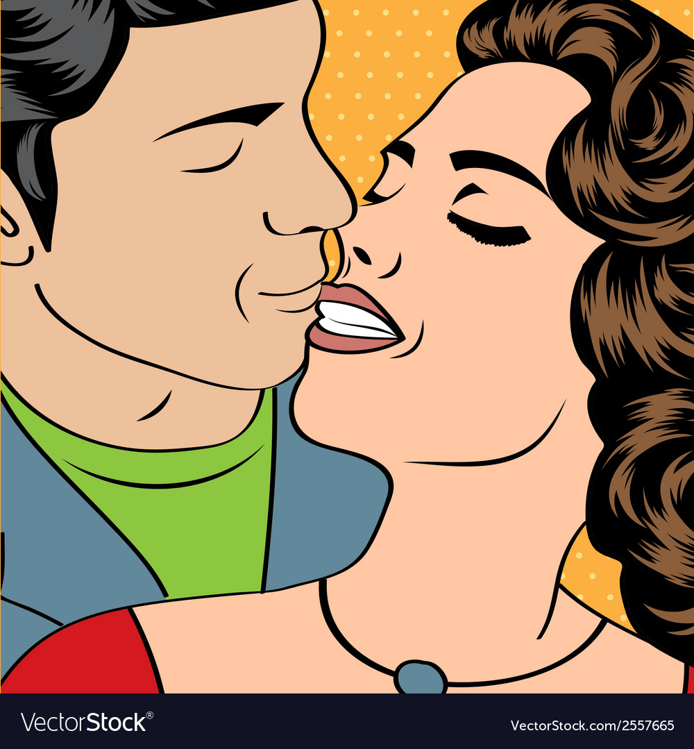 Pop art kissing couple vector | Price: 1 Credit (USD $1)