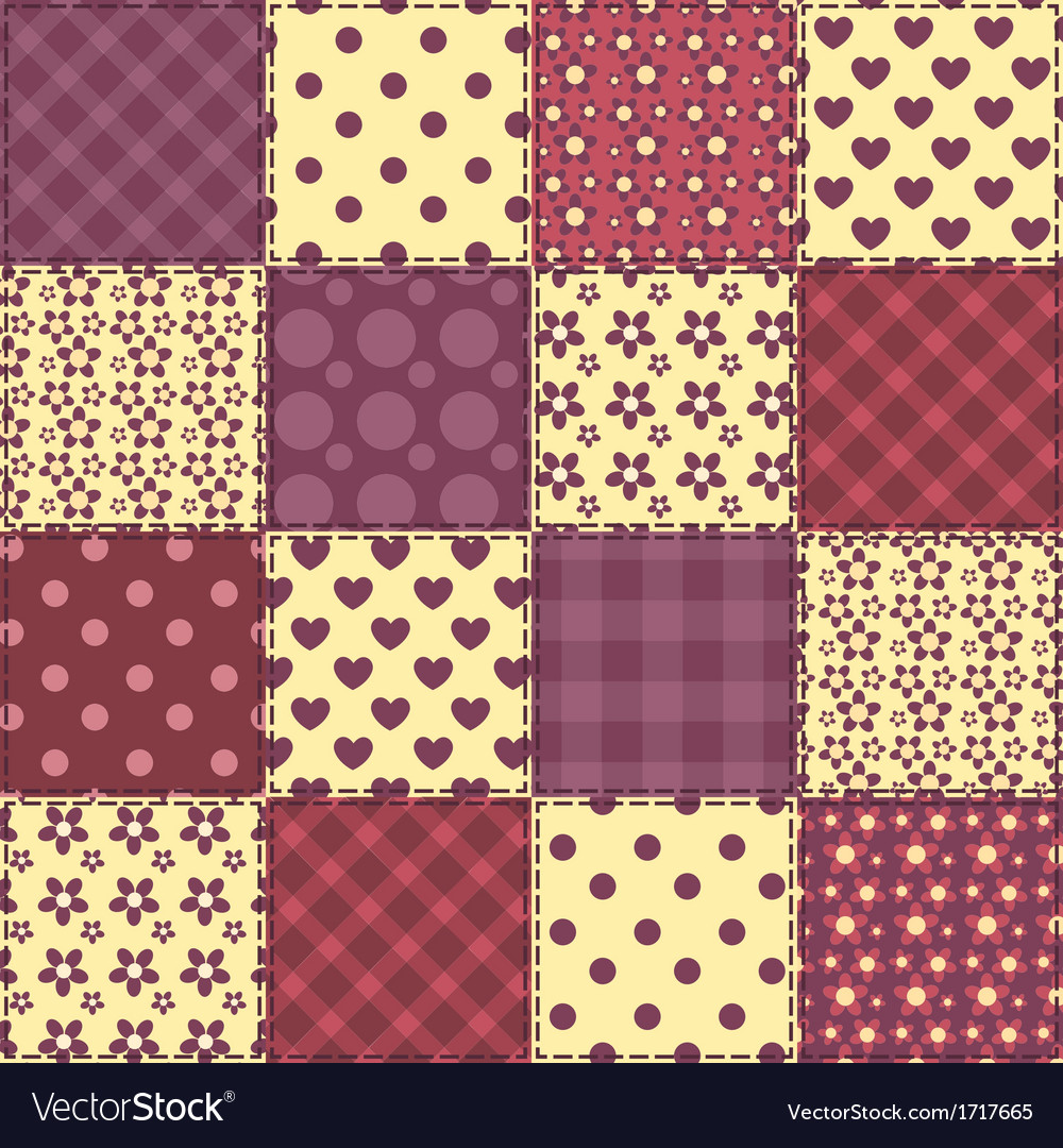 Seamless patchwork claret color pattern 2 vector | Price: 1 Credit (USD $1)