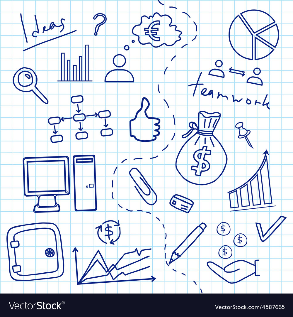 Sketch of business doddle elements vector | Price: 1 Credit (USD $1)