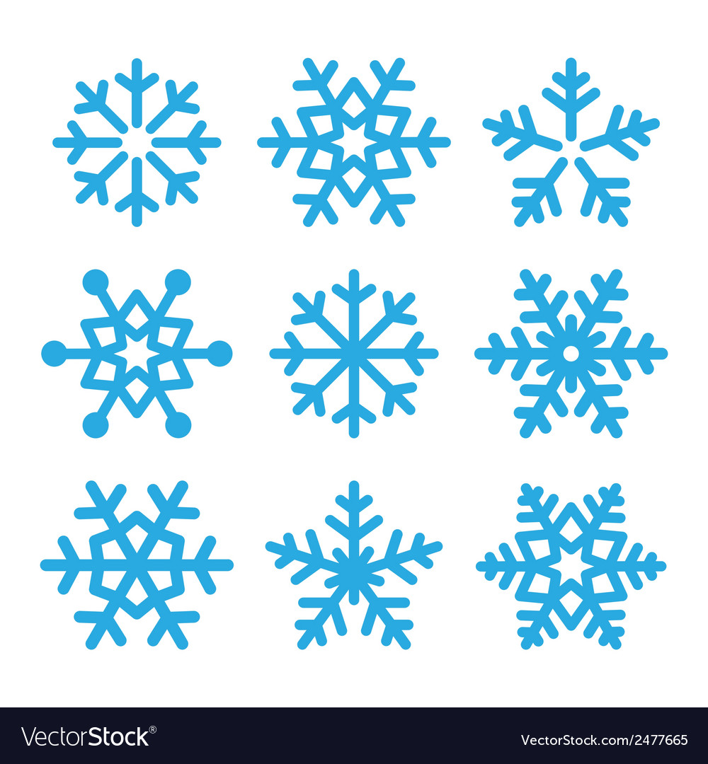 Snowflakes blue icons set vector | Price: 1 Credit (USD $1)
