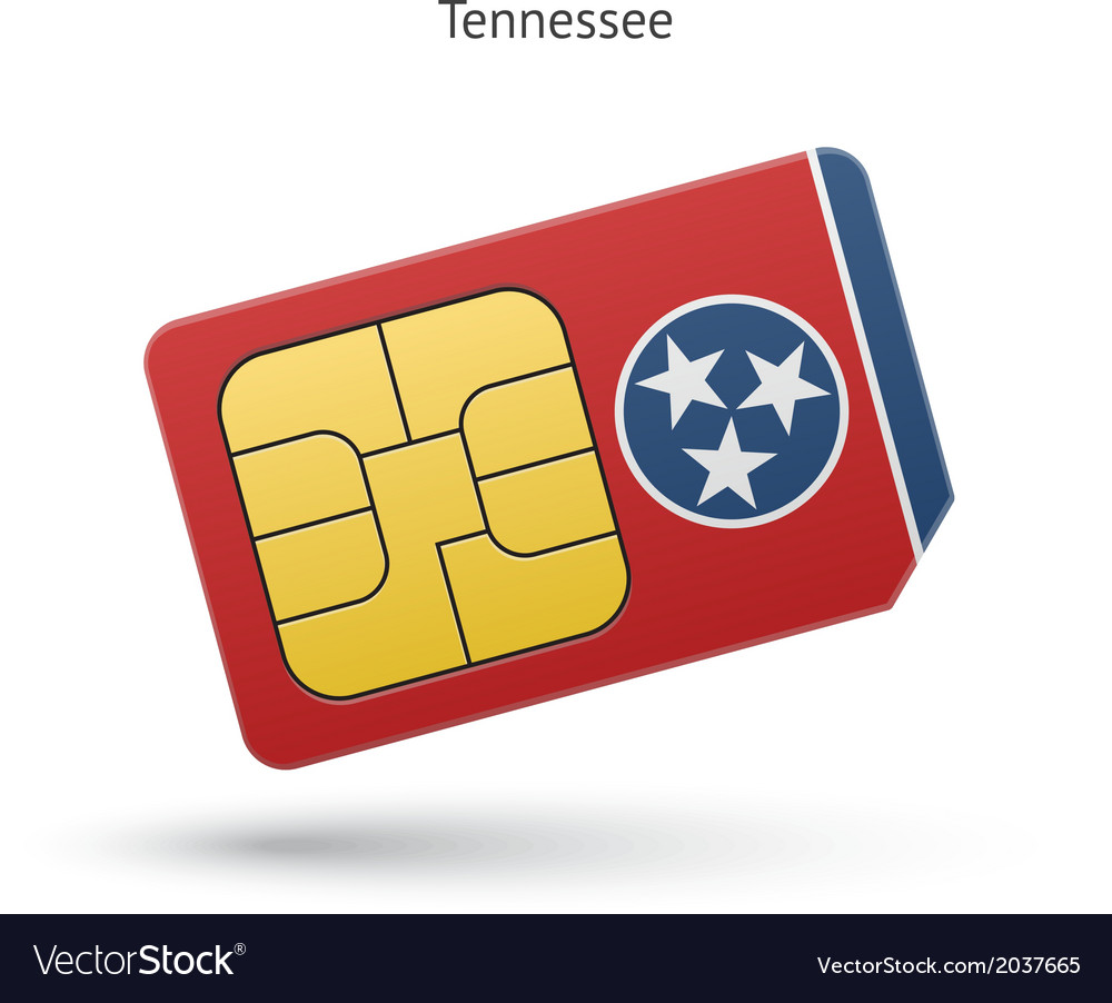 State of tennessee phone sim card with flag vector   Price: 1 Credit (USD $1)