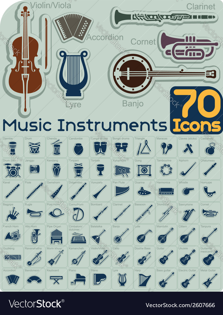 70 music instruments icons set vector | Price: 1 Credit (USD $1)