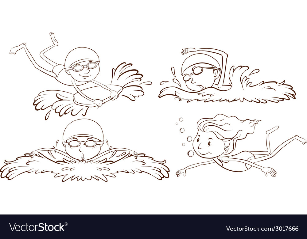 A sketch of people swimming vector | Price: 1 Credit (USD $1)