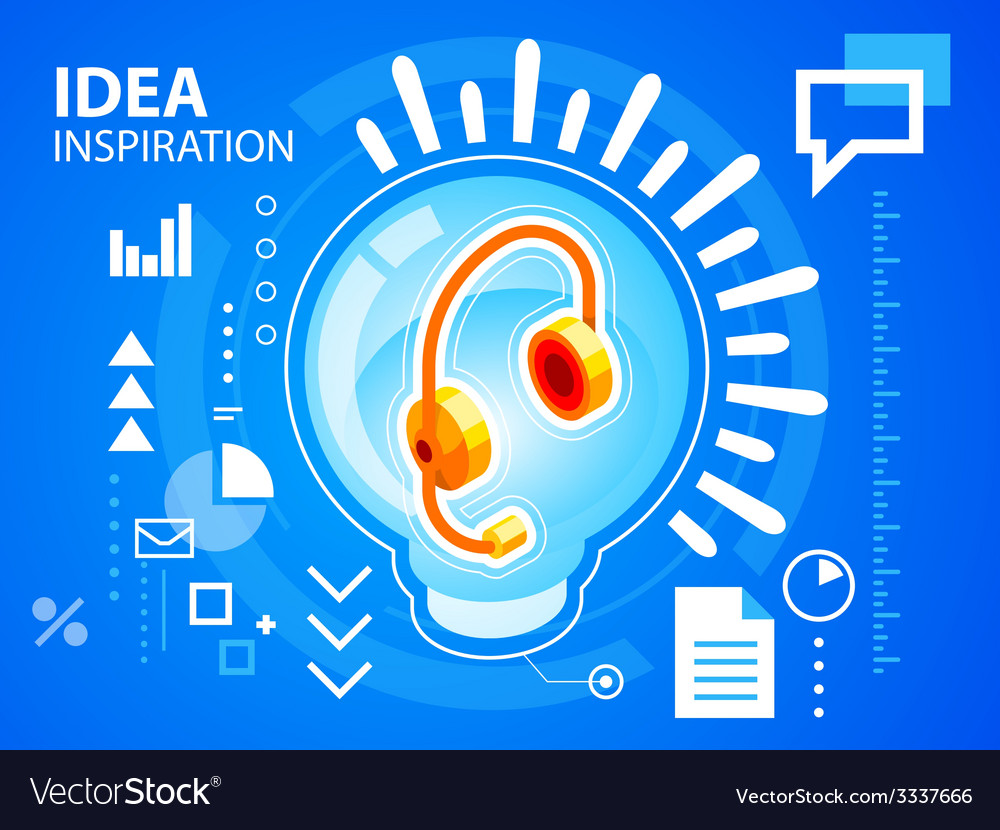 Bright bulb and head phone on blue backgroun vector | Price: 3 Credit (USD $3)