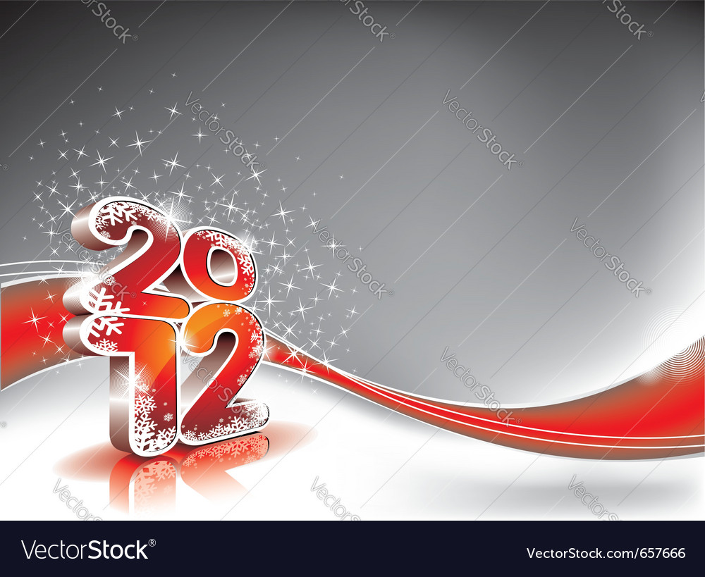 Calendar design 2012 on red wave background vector | Price: 3 Credit (USD $3)