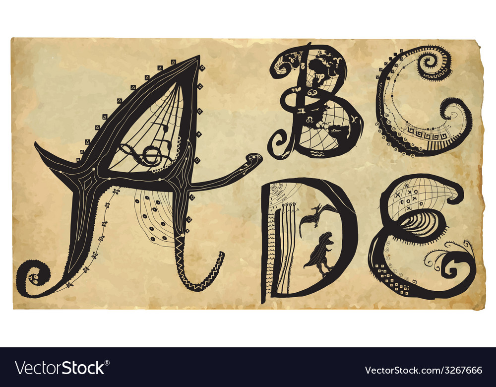 Curly playful alphabet - hand drawn - part a-e vector | Price: 1 Credit (USD $1)