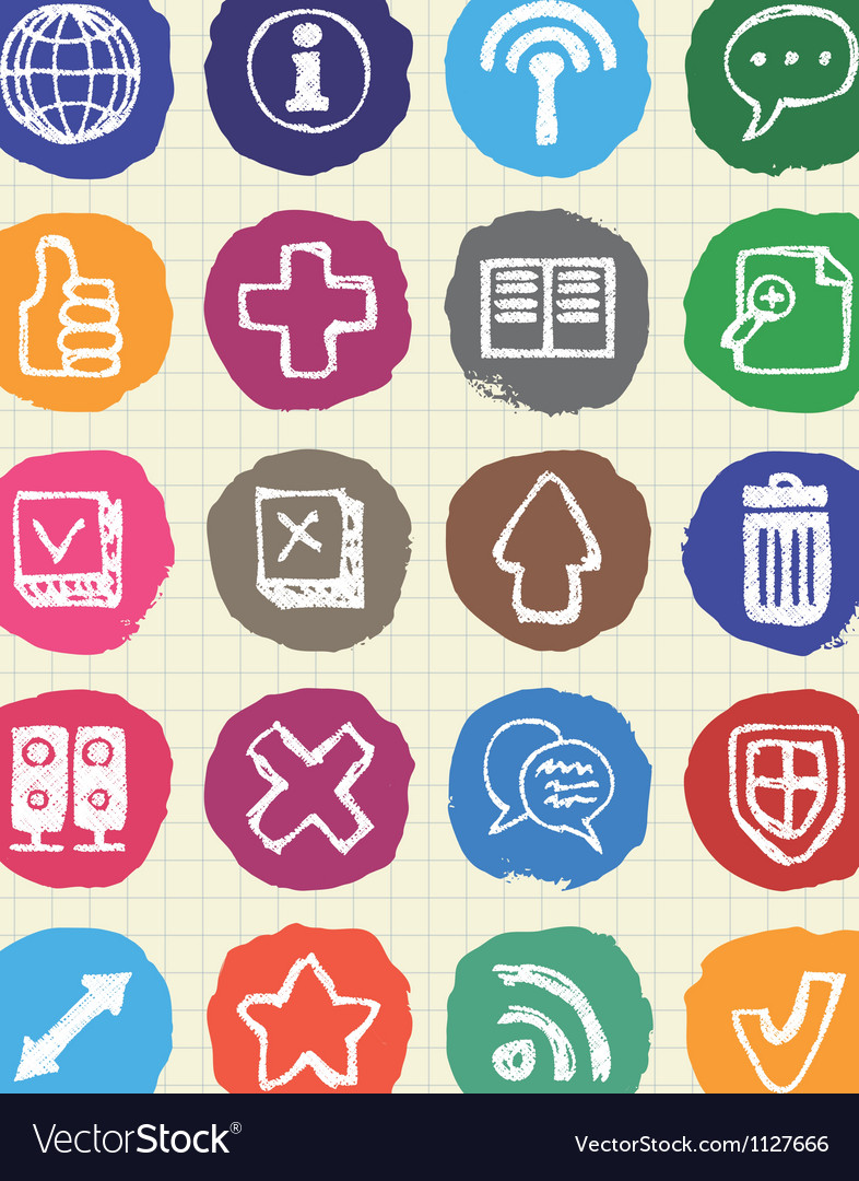 Doodle internet web icons set drawn by chalk vector | Price: 1 Credit (USD $1)