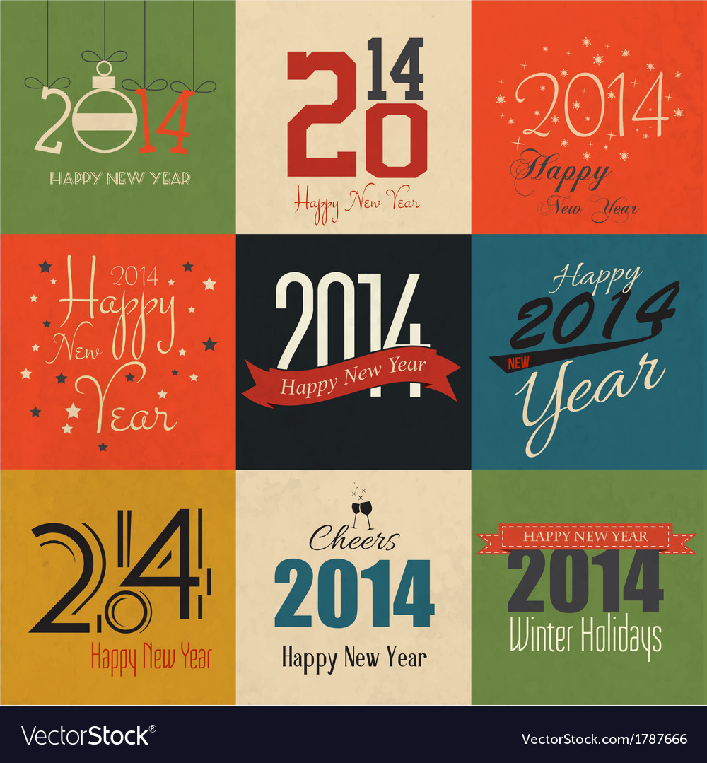 Happy new year labels vector | Price: 1 Credit (USD $1)