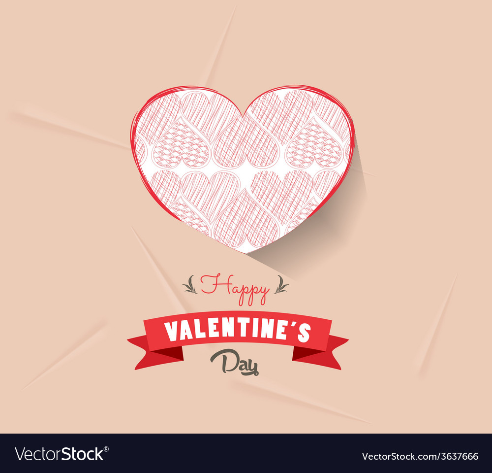 Happy valentines day with heart sketched vector | Price: 1 Credit (USD $1)