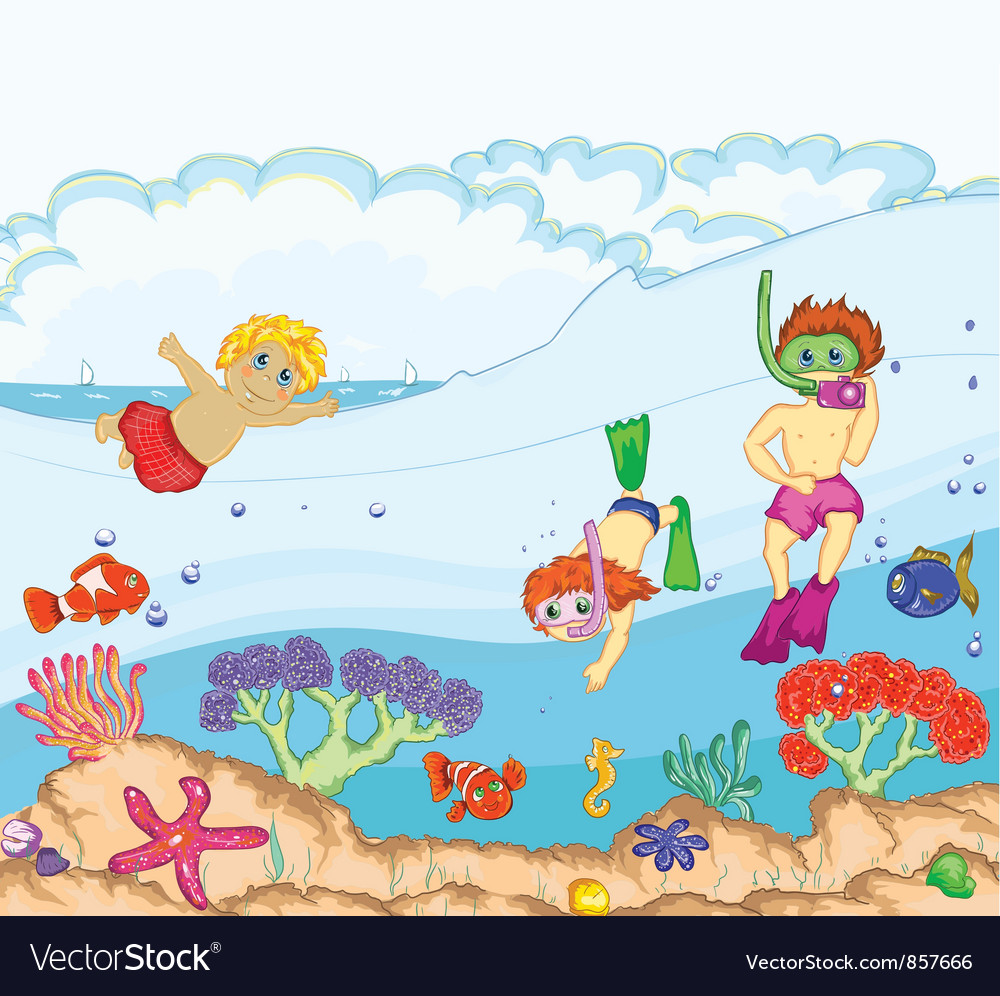 Kids swimming vector | Price: 3 Credit (USD $3)