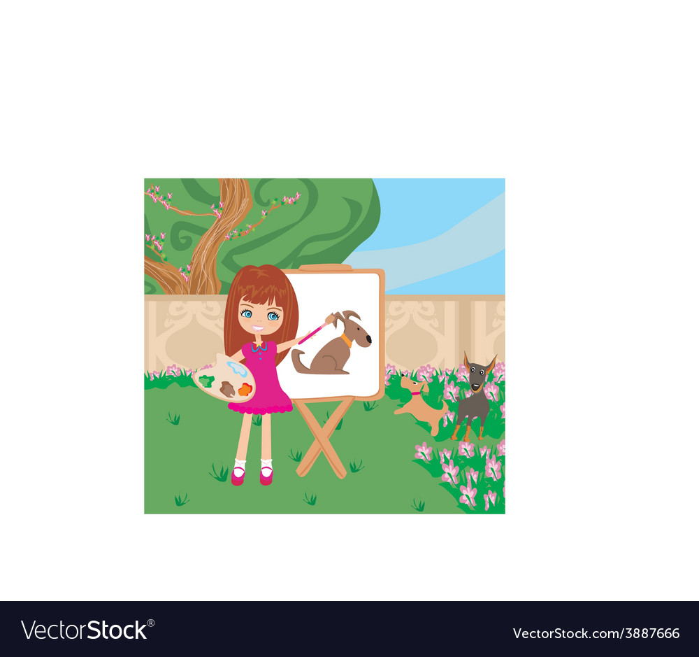 Little artist girl painting dog on large paper vector | Price: 1 Credit (USD $1)