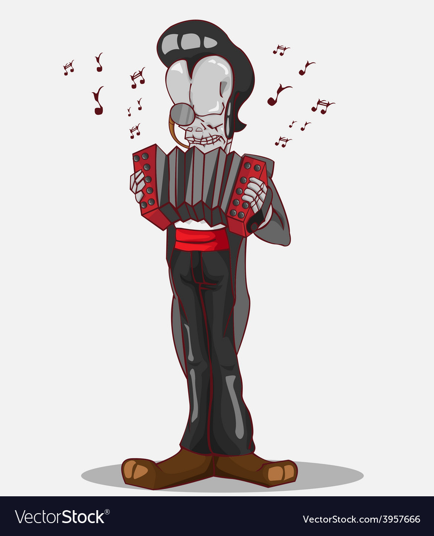 Monster in halloween night skeleton play accordion vector | Price: 3 Credit (USD $3)
