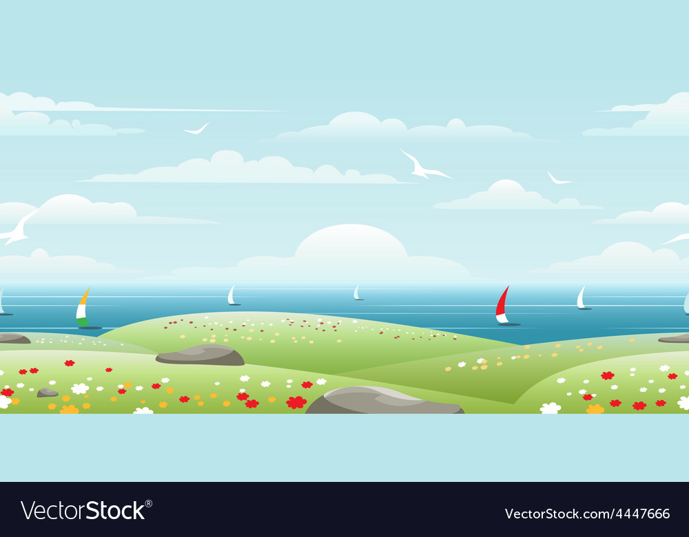 Sea landscape with sails vector | Price: 1 Credit (USD $1)