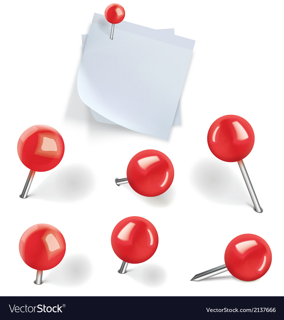 Set of red pushpins vector | Price: 1 Credit (USD $1)