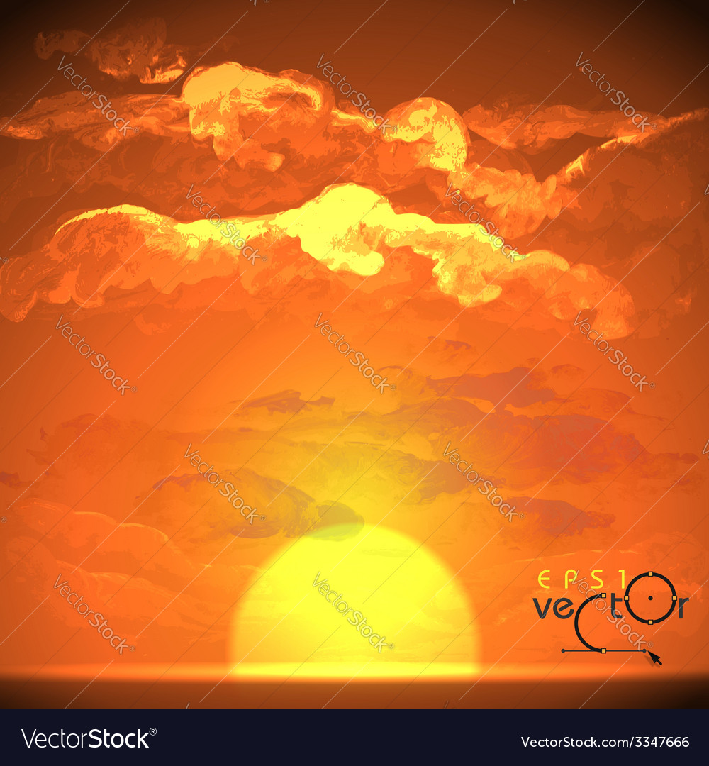 Sunset sunrise with clouds vector | Price: 1 Credit (USD $1)