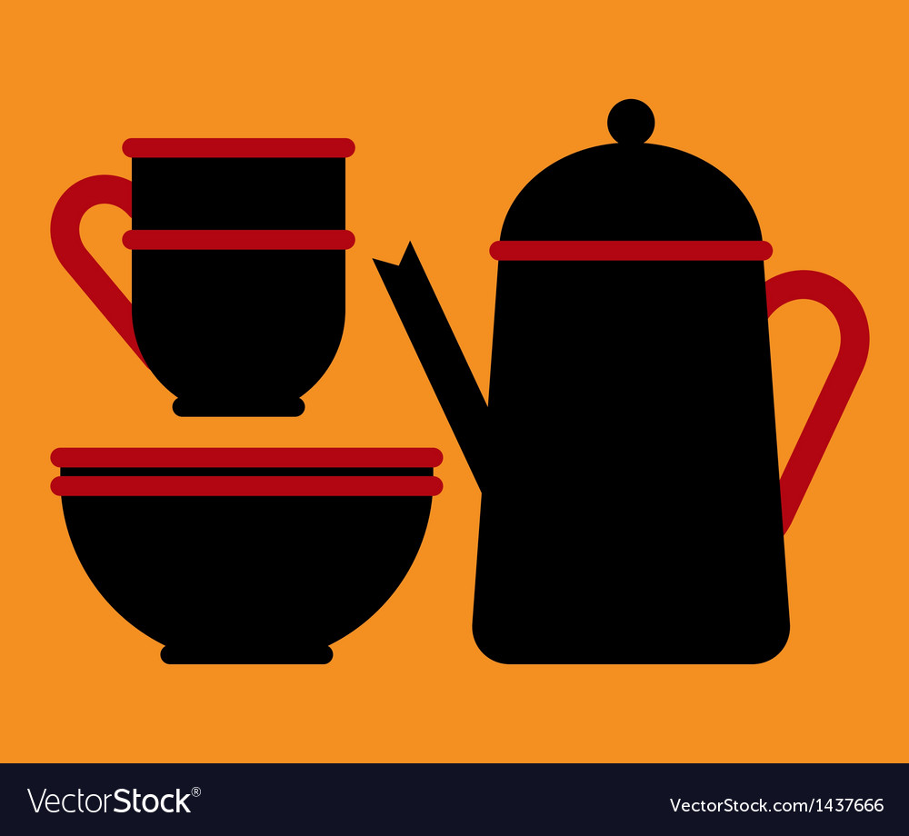 Teapot teacup and bowl vector | Price: 1 Credit (USD $1)