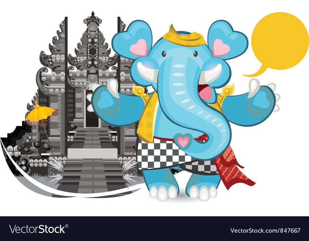 Balinese ganesha blue elephant vector | Price: 1 Credit (USD $1)