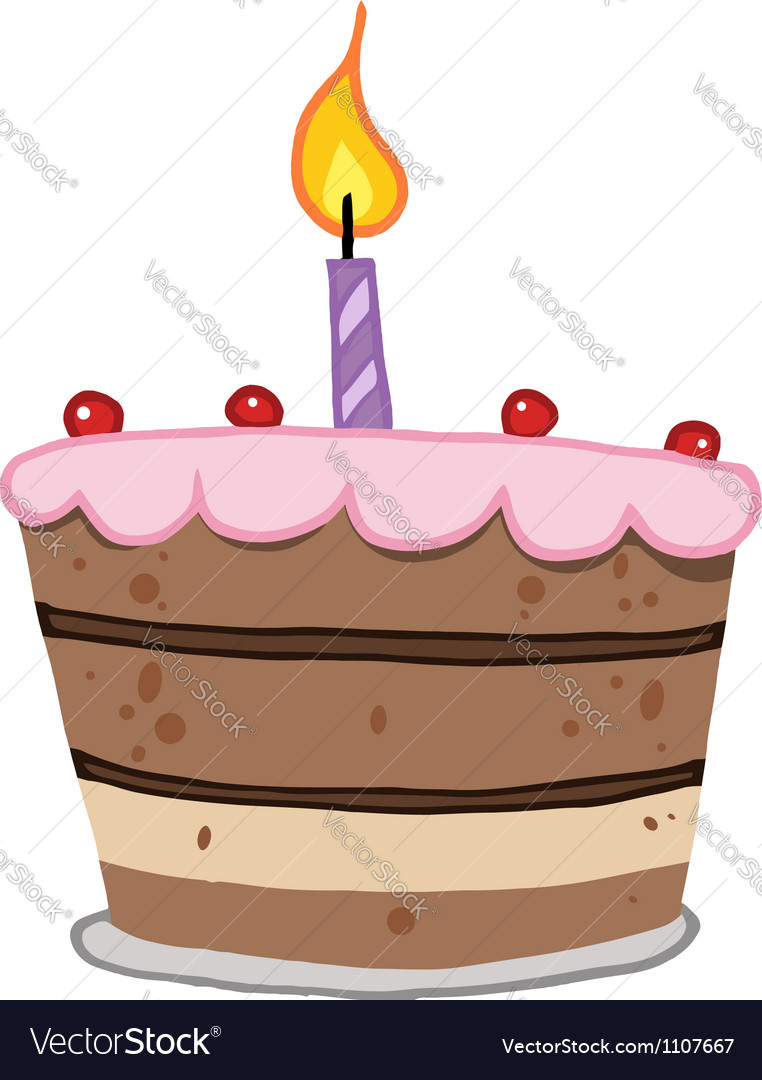 Birthday cake with one candle lit vector | Price: 1 Credit (USD $1)