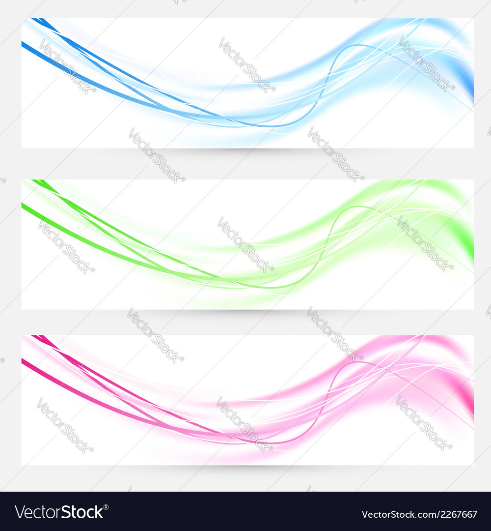 Bright web headers footers lines collection vector | Price: 1 Credit (USD $1)