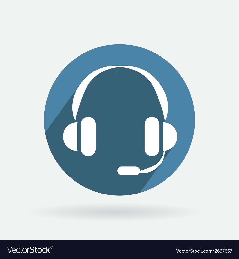 Circle blue icon with shadow customer support vector | Price: 1 Credit (USD $1)