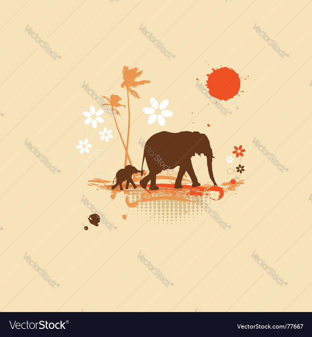 Family of elephants summer illustration vector | Price: 1 Credit (USD $1)