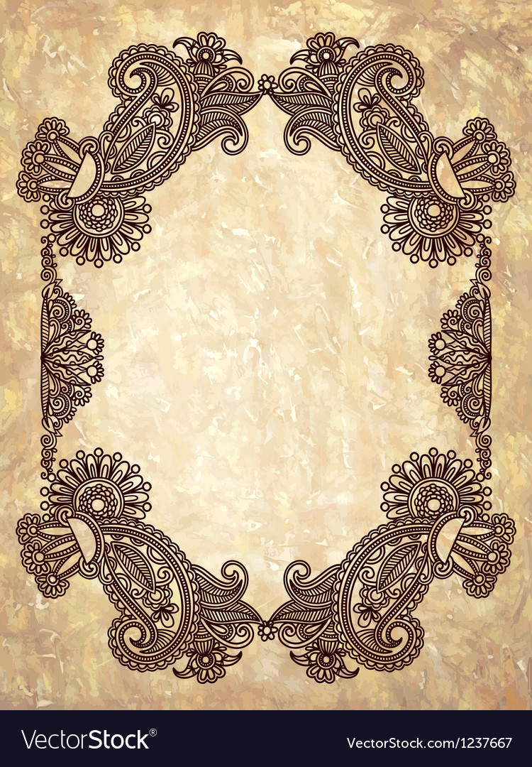 Hand draw ornate floral vintage frame vector | Price: 1 Credit (USD $1)
