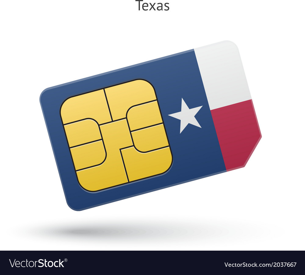 State of texas phone sim card with flag vector | Price: 1 Credit (USD $1)
